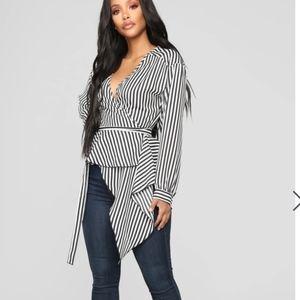 Fashion Nova Asymmetrical Stripe Blouse -